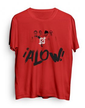 2J logo character ALOW red t-shirt