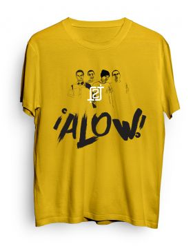 2J logo character ALOW gold t-shirt
