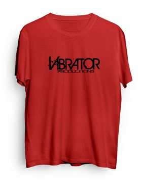 Vibrator Productions black logo red t-shirt